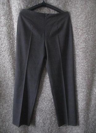 Шерстяные брюки в клетку серо-коричневого цвета