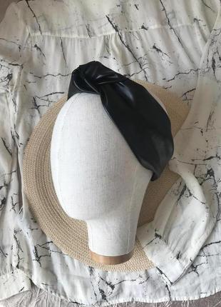 Черная кожаная/из эко-кожи повязка на голову/для волос/тюрбан/чалма с узелком