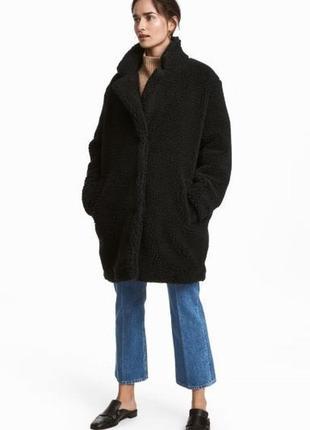 Женская шикарная трендовая шубка тедди пальто оверсайз h&m