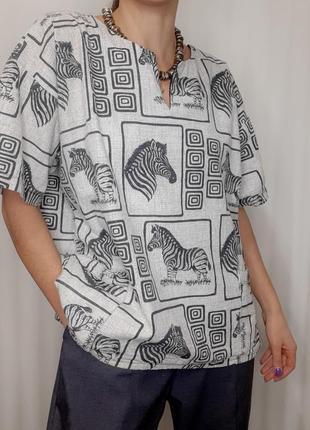 Оригинальная винтажная  рубашка с крутым принтом 🦓