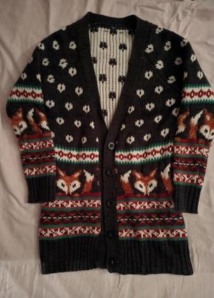 Теплая кофта кардиган с милыми лисичками