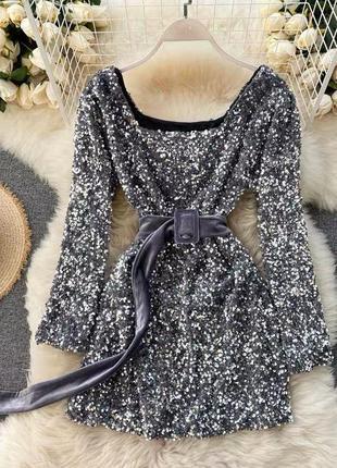 Серебряное платье, вечернее платье с пайетками, платье праздничное в клуб