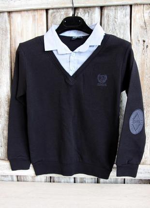 Школьный джемпер  с воротом рубашки, обманка