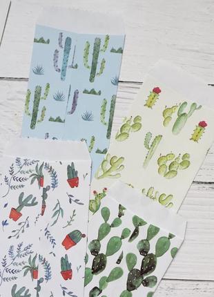 Набор конвертов кактусы суккуленты