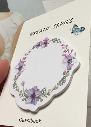 Стикеры бумага для записи цветочный венок