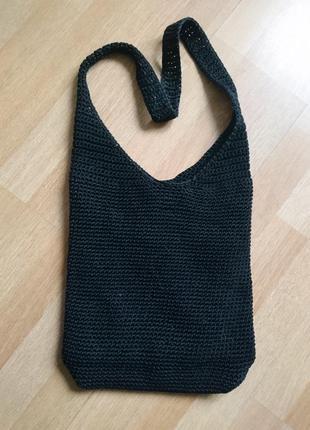 Черная вязаная сумка 28*31(39)см ручка 72см