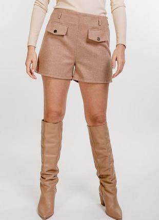 Новые стильные женские теплые шорты с поясом в комплекте кашемир