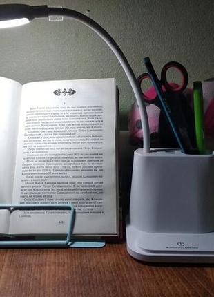 Умная настольная светодиодная лампа 3в1 со встроенным аккумулятором и powerbank белая