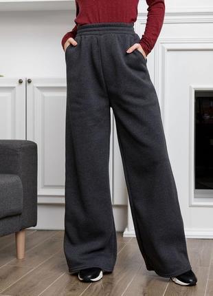 Новые актуальные удобные прямые женские утепленные спортивные штаны на флисе высокая талия