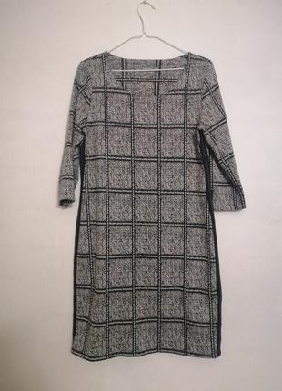 Плотное стильное платье в клеточку с лампасами, оверсайз geisha