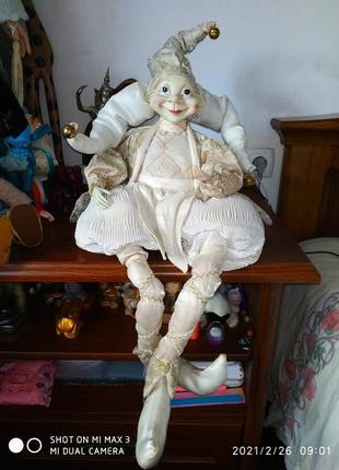 Интерьерная колекционная кукла арлекин 95 см