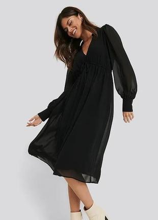 Платье нарядное миди рукав с манжетом с v вирезом