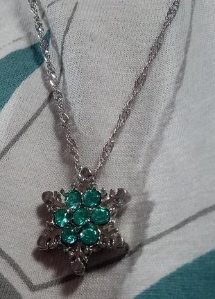 Кулон подвеска ожерелье цепочка снежинка с бирюзовыми камнями