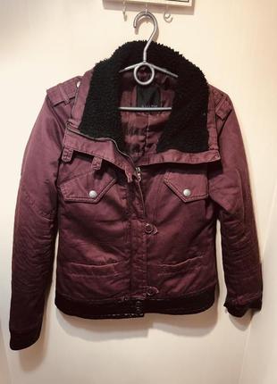 Куртка теплая весна/зима марсала джинсовая s