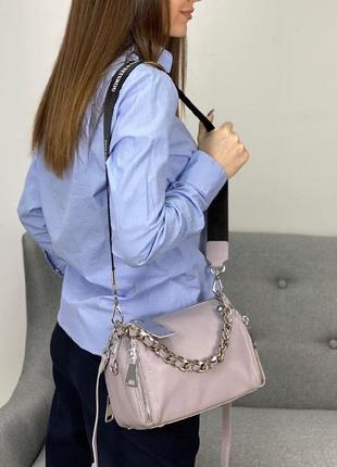Кожаная пудровая сумочка кросс-боди
