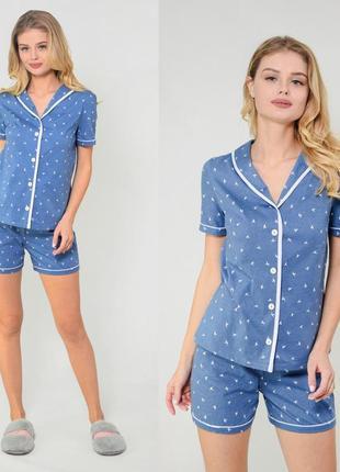 Пижама, комплект для сна, рубашка и шорты