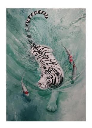 """Картина акрилом """"тигр и евфрат"""", 50*70 см ручная работа"""