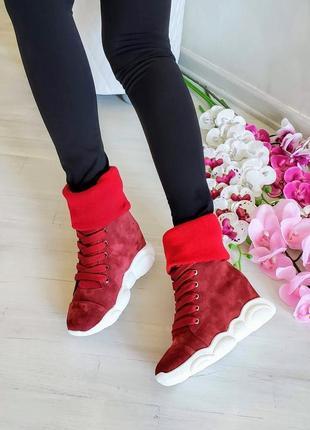 Женские замшевые ботинки на танкетке, жіночі замшеві черевики