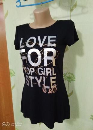 Шикарная футболка- туника- с принтом- s-xs- от top girl-идеал