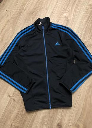 Спортивная кофта адидас adidas женская на замке молнии синяя толстовка зип худи