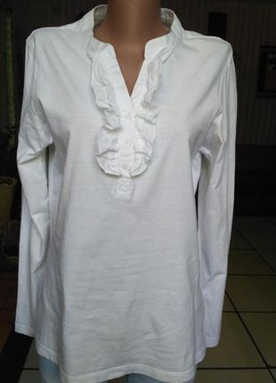 Белая нарядная футболка/лонгслив с длинным рукавом, размер l-xl