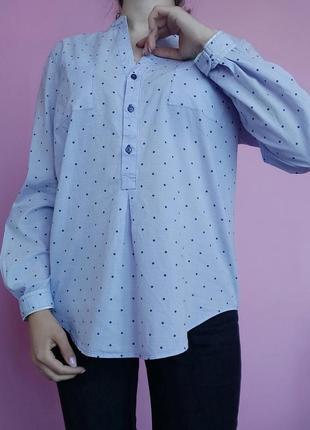 Розпродаж!🔥хлопковая рубашка в горох🌷 брендова легенька сорочка