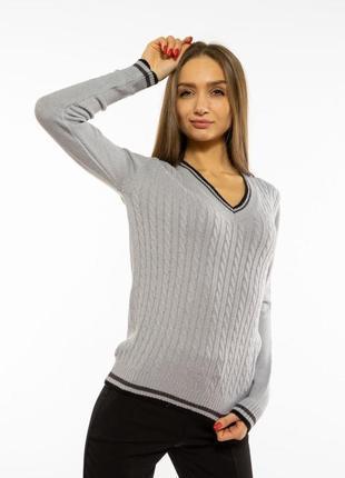 Пуловер женский с v-образным вырезом 618f402 стальной