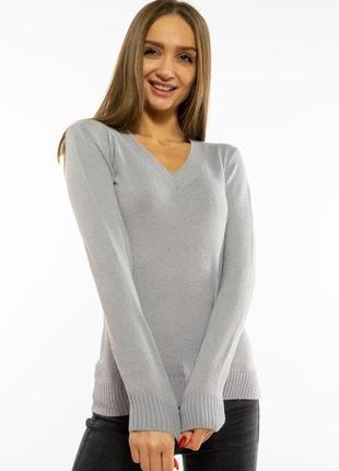 Пуловер женский с v-образным вырезом 618f090 стальной
