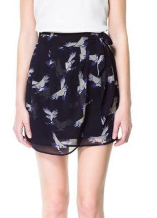 Zara basic новая милейшая юбка с птицами из воздушного шифона на подкладке