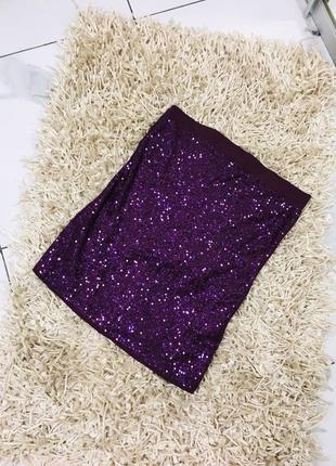Крутая эффектная высокая мини юбка расшитая пайетками от amisu