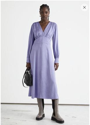 Жаккардовое платье миди с объемными рукавами
