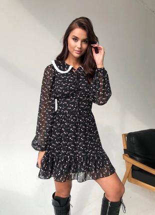 Крутое платье со съемным воротничком новинка, тренд
