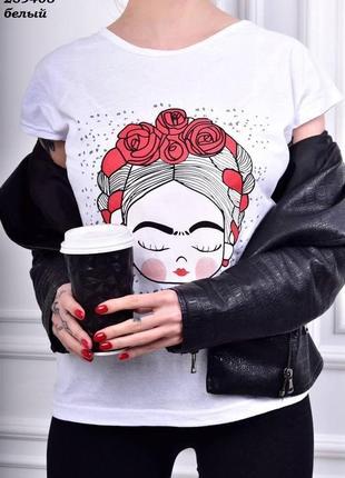 Белая женская футболка размер m, l, xl