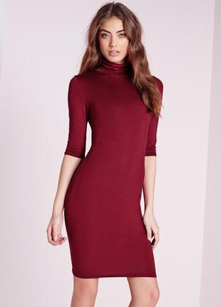 Платье - гольфик винного цвета boohoo