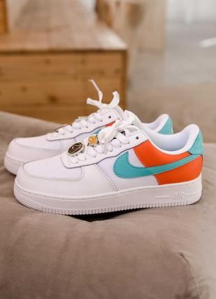 Nike air force 1 low se white/orange 🍏 стильные женские кроссовки найк аир форс