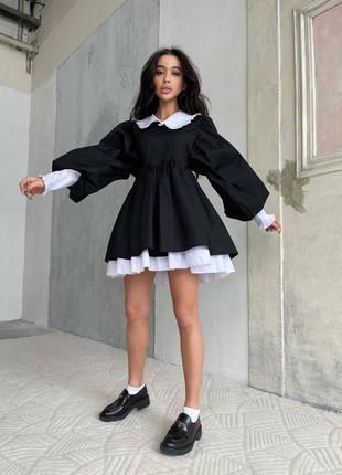 Чёрное платье с рюшей