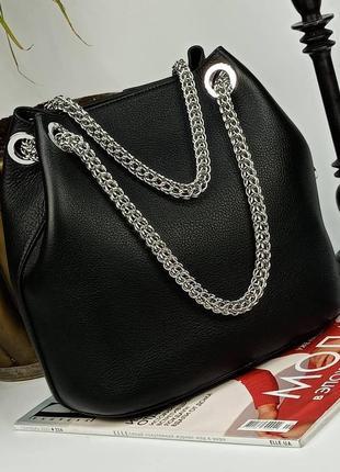 Шикарная кожаная сумка мешок, внутри съёмная косметичка