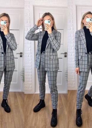 Брючный костюм двойкав клетку кашемир (пиджак + брюки)