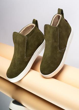 Женские замшевые ботинки слипоны мокасины жіночі замшеві черевики сліпони мокасини