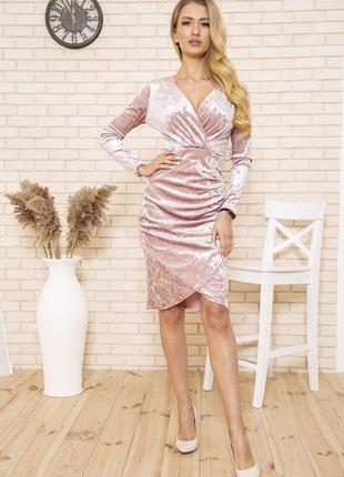 Платье 167r1675 цвет пудровый велюровое1 фото