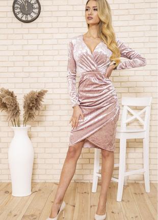 Платье 167r1675 цвет пудровый велюровое2 фото