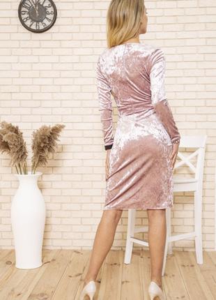 Платье 167r1675 цвет пудровый велюровое3 фото
