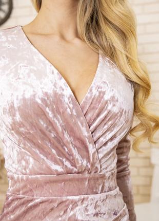 Платье 167r1675 цвет пудровый велюровое4 фото