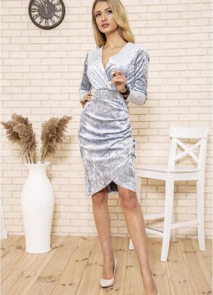 Платье 167r1675 цвет пудровый велюровое5 фото