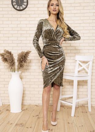 Платье 167r1675 цвет пудровый велюровое6 фото