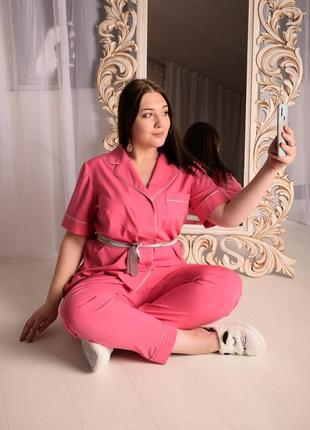 Розовая шелковая пижама большой размер