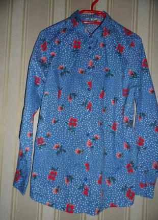 Женская рубашка длинный рукав/ цветочный принт / размер 42// xl   хлопок