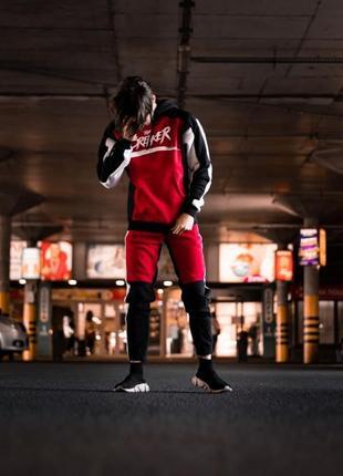 Спортивный теплый костюм the breaker черно-красный