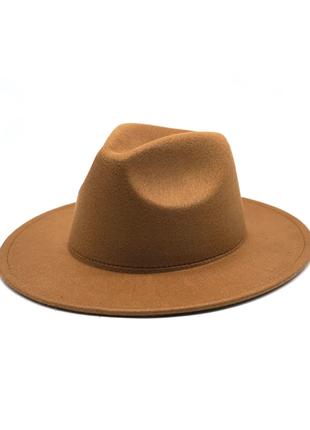 Фетровая шляпа федора, шляпа ковбойка с твердыми полями фетр
