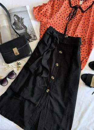 Стильная юбка с пуговками и пояском amisy р.34